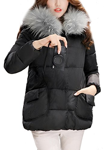 OMZIN Frauen verdickte Reißverschlüsse Daunenjacke (Most Wished & Gift Ideas) Schwarz M (Goose Down Hooded Parka)
