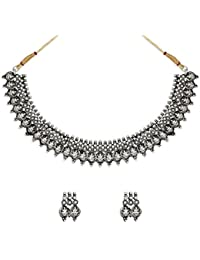 Zaveri Pearls Silver Antique Choker Necklace for Women (Silver) (ZPFK6299)