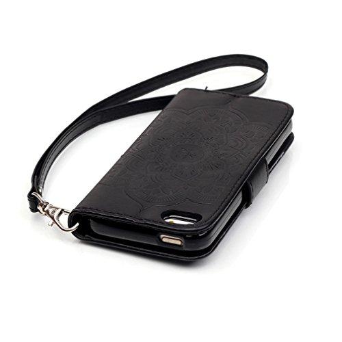 Mk Shop Limited Etui iPhone 5/5S Luxe PU Cuir Coque Housse Portefeuille Dragonne Case Cover de Protection Swag Shell avec Fonction Support Gaufrage Motif avec Diamant pour Apple iPhone 5/5S Multi-couleur 13