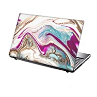 TaylorHe 15.6 inch 15 inch Laptop Skin Vinyl Decal with Colorful Patterns and Leather Effect Laminate MADE IN England Pink Blue Marble