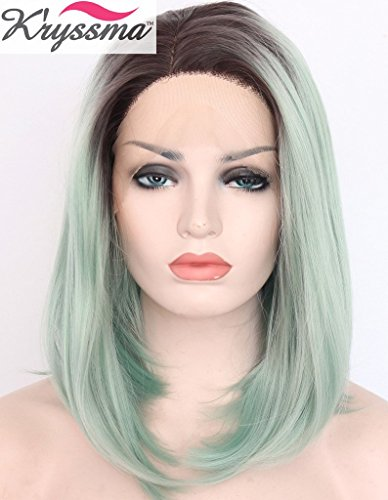 kryssma-short-bob-wigs-for-women-ombre-light-green-straight-wigs-for-women-brown-roots-synthetic-hai