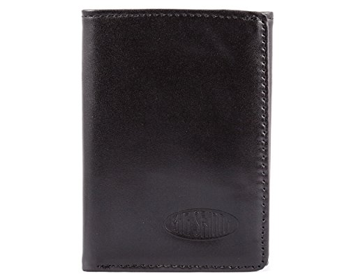 Big Skinny Herren RFID-blockierender Tri-Fold Leder Slim Wallet, für bis zu 25Karten, schwarz
