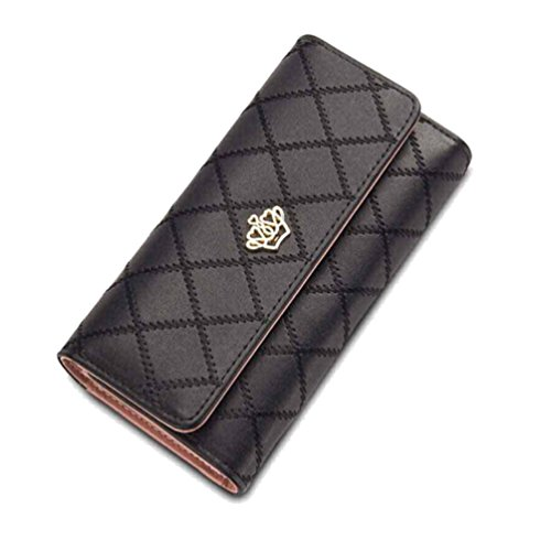Malloom® Women Clutch Long Purse Leather Wallet Card Holder Handbag Bags (Black)