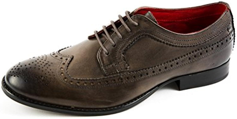 Base London BL5-006 - Zapatos de Cordones de Piel Lisa para Hombre Gris Gris -