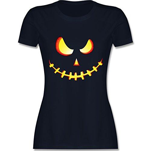 Halloween - Gruseliges Kürbis-Gesicht - M - Navy Blau - L191 - Damen T-Shirt Rundhals
