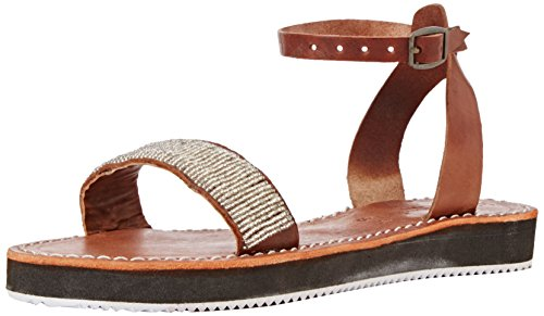 Laidback London - 077ss16 Rayna Lp White, Sandali Donna Argento (Argento (midbrown/silver))