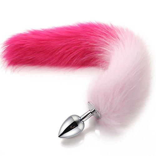 Pink Kostüm Cat Tail - Brinny Edelstahl Buttplug Analplug mit Fuchsschwanz Fetisch Fox Tail für SM Spiel Kostüm Cosplay Party Stopper Anus Sexspielzeug konische Spitze