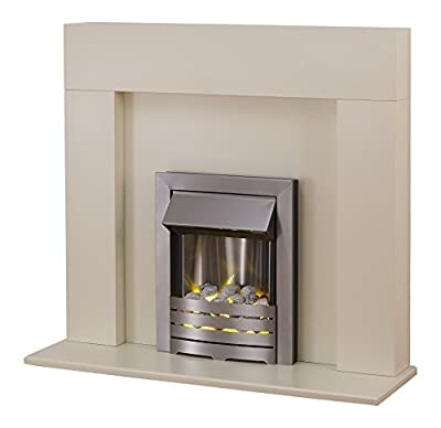 Adam Miami Fireplace Suite with Helios Electric Fire, 2000 Watt, Satin Ivory