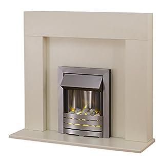 Adam Miami Fireplace Suite with Helios Electric Fire, 2000 Watt, Satin Ivory