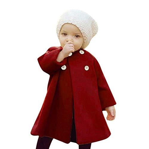 Doo Kostüm Familie Scooby - LSTC Herbst Winter mädchen Outwear Mantel Kleinkind Kinder Baby Taste Jacke warme Mantel Baumwollmischung Kleidung Nette Reine Farbe Sweatshirt Feste regelmäßige Sport Kleid Mantel Parka 90,Wine