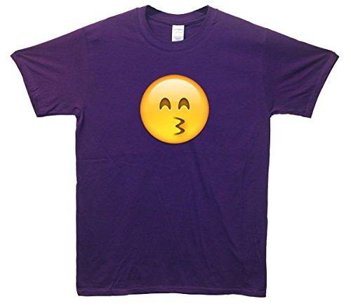 Kiss Face Emoji T-Shirt Lila