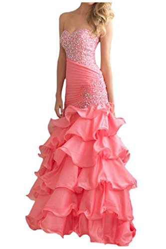 Gorgeous Bride Glamour Herzform Mermaid Organza Kristall Ballkleid Prom Kleid Abendmode Rosa
