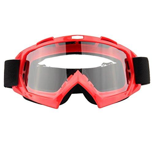 Lmeno Winter Radfahren Skibrille Transparente Linse Snowboardbrille Motorrad Motocross fahren GoggleBrille Anti Fog Winddicht Ski Goggles UV-Schutz Sonnenbrillen Augenschutzbrillen Rot