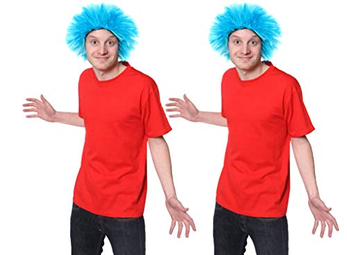 ILOVEFANCYDRESS DAS Blaue Ding 2 Blaue PERÜCKEN +2 ROTES Tshirts = KOSTÜM VERKLEIDUNG DER Katze IM ODER MIT Hut = ZUBEHÖR FÜR EINE VERRÜCKTE VERKLEIDUNG -Fasching+Karneval = SMALL+SMALL (2 Shirts Ding Ding 1)