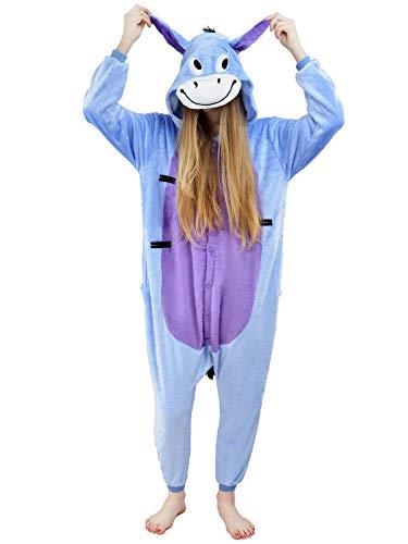 Unbekannt Damen Fleece Einteiler Nachtwäsche Pyjama Kostüm Kapuze Esel I-Aah blau Gr. S