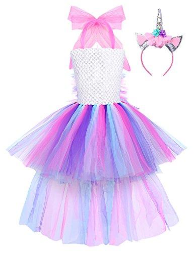 iEFiEL Mädchen Einhorn Kostüm Set Prinzessin Kleid mit Blumen Haarreif für Kinder Kostüm Karneval Party Halloween Verkleidung Outfits (128-134, Z - Blumen Mädchen Kostüm Halloween