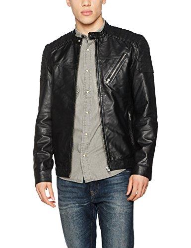 JACK & JONES Herren Jacke Jcomorty Leather Jacket Schwarz (Black Fit:Leather)