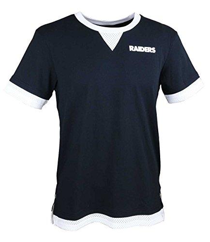 Majestic - Oakland Raiders - Nfl Cotton Mesh Mock Layer - Tee / T-shirt - Black - S (Mock T-shirt Layer)