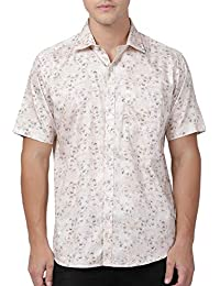 Zeal Light Beige Coloured Floral Printed Cotton Regular Fit Half Sleeve Shirt for Men