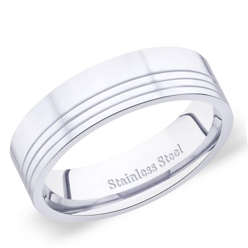 6 mm Peora Valentine 316L Stainless Steel High Polish Triple Grooved Engagement Band Ring for Men (PSR242-9)  available at amazon for Rs.405