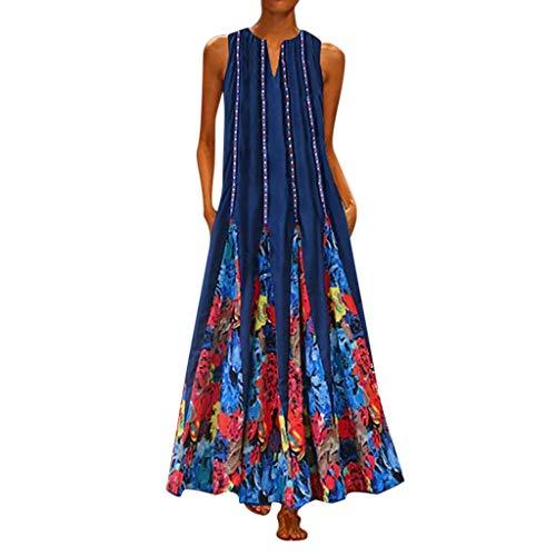 Fenverk Maxi Kleid Damen Casual Sommerkleid Kurzarm Mit Tasche Lose Strandkleider Hohetaille Kleider Ballkleid Prom Abend Party Swing S-5XL(B Blau,XXXXXL)