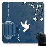 Luancrop Mousepad libertà Gabbia per Uccelli Fiore di ciliegio Albero Astratto Clip Aperto Primavera Disegno Floreale Tappetino per Mouse Gomma Antiscivolo per Notebook Computer Portatile