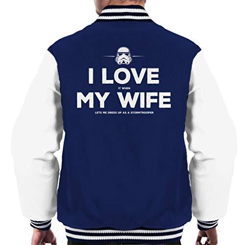Original Stormtrooper Wife Lets Me Dress up Men's Varsity Jacket (Dress Up Jedi)