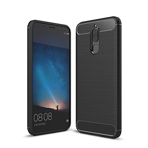 Huawei Mate 10 Lite Hülle, TopACE Flexiblem TPU Silikon Hybrid Schutzhülle Kohlenstoff-fasern Tasche Slim-Fit Case für Huawei Mate 10 Lite (Schwarz) Beste Qualität-kopfhörer