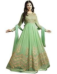 Mordenfab Women's Green Faux Georgette Anarkali Suit (Green_Free Size)