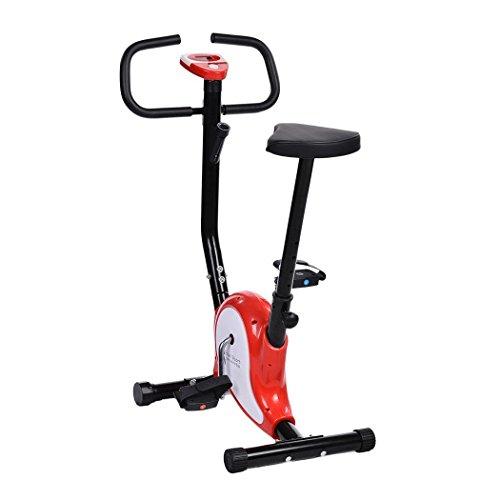 cooshional Bicicleta estática con sensores de pulso de mano plegable, con respaldo