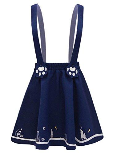 Vestido de Gatos Lindo Bordado Liguero Ajustable Lolita Mini Falda