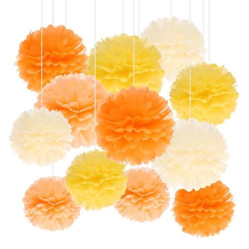 Kreatwow Seidenpapier Pom Poms Dekorationen Kit Orange Hellgelb Pfirsich Cantaloupe Papier Pom Poms Girlande für den Geburtstag von Mädchen Muttertag Party Kinderzimmer Dekoration 12 Pack