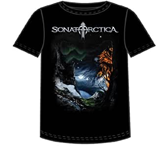 Sonata Arctica - Days Of Grays 2010 Wolf Adult T-Shirt In Black, X-Large, Black