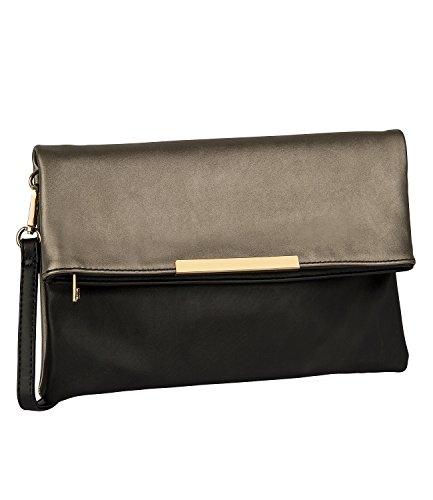 SIX SALE - Damen Abend Handtasche, Flip-Over Clutch, beige metallic, schwarz (427-621) (Box-clutch-schwarz-abend-taschen)