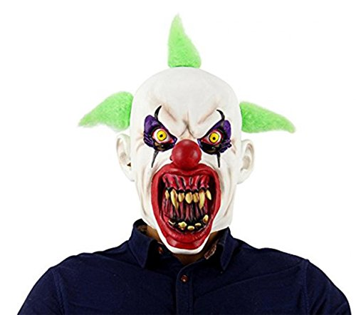 WODISON Latex Halloween Gruselige Maske Furchtsame Clown Horror Mund Cosplay Kostüm Party Maske für Erwachsene (Grün) (Böse Clown Dekoration)