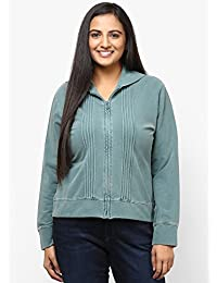 GRAIN Teal Blue Regular fit Cotton Full Sleeve Jackets for Women