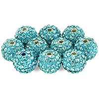 JER Fit 10 piezas del espaciador del Rhinestone de Shambhala Perlas Perlas de cristal granos redondos del espaciador cristalino de 10mm collar de la pulsera azul