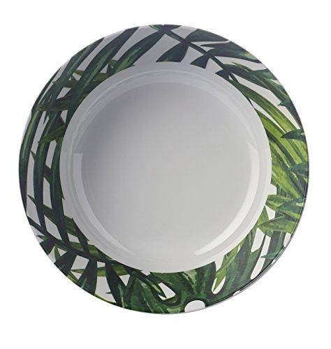 Tropical Vert et blanc Botanics Motif - Petit bol profond - Élégant, léger et durable en mélamine pique-nique/barbecue/buffet extérieur salle à manger Salade de fruits/céréales/soupe/bol à pâtes - 14 cm