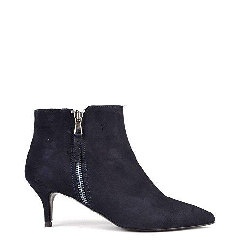 Elia B Chaussures Anna Boots a Talon en Daim, Femme Bleu
