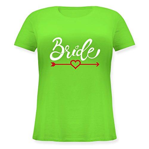 Pfeil Damen Kostüm Grüner - JGA Junggesellinnenabschied - Bride - Herz mit Pfeil - S (44) - Hellgrün - JHK601 - Lockeres Damen-Shirt in großen Größen mit Rundhalsausschnitt