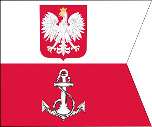 magFlags Flagge: Large POL Flaga D-ca MW | Polish Navy s Commander-in-Chief s | Dowódcy Marynarki Wojennej RP | Querformat Fahne | 1.35m² | 110x130cm » Fahne 100% Made in Germany