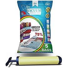 Sacchetti sottovuoto ARC (100x70) Confezione da 5, formato Jumbo, con pompa per sottovuoto gratis, meccanismo di sigillatura di alta qualità, garanzia 100%
