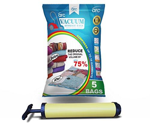 ARC Vakuum Aufbewahrungsbeutel (100x70) & Luftpumpe. Jumbo-Taschen Hochwertiger Verschlussmechanismus, 100% Einzigartige Lebenslange Garantie durch ARC