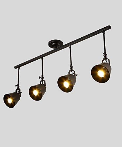 CHAOXIAN Bügeleisen Single / Doppel / Drei / Vier Lichter LED-Deckenstrahler deckenleuchte retro lange Pole hintergrundwand scheinwerfer Innenbeleuchtung ( Farbe : Schwarz , größe : D ) (Single-pole-licht)