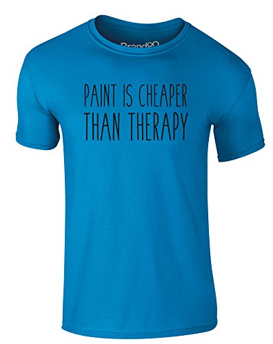 Brand88 - Paint Is Cheaper Than Therapy, Erwachsene Gedrucktes T-Shirt Azurblau/Schwarz