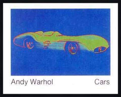 """Bild mit Rahmen: Andy Warhol, """"Cars, Formula - I - Car W 196 R, Bj. 1954"""", 90 x 70 - Holz Fortuna L: Schwarz matt"""