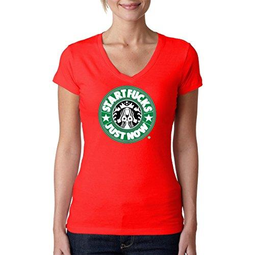 Fun Sprüche Girlie V-Neck Shirt - StartFucks - Just Now by Im-Shirt Rot
