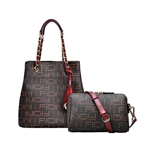 HWX Damen-Multifunktionstasche, Kette Umhängetasche Tragbare Messenger Bag Bucket Bag (Farbe : Rot, Größe : 195 * 235 * 180MM)