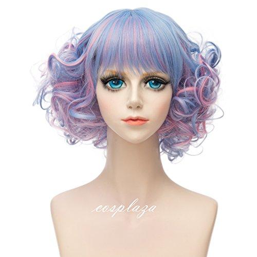 COSPLAZA Kurzen Wellen Curls Flat Pony Retro Mode Dame Cosplay Täglichen Kostüm Perücken Mixed Blau