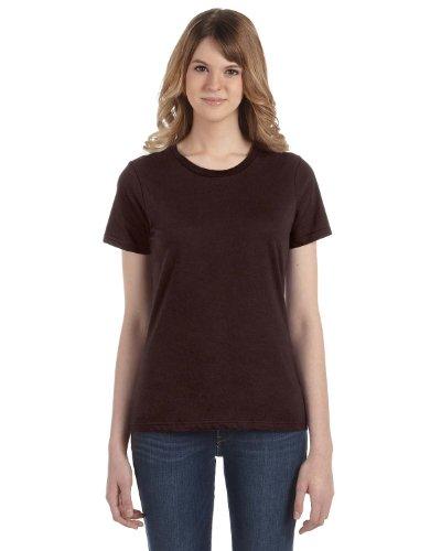 Anvil - Maglietta 100% Cotone - Donna cioccolato. Maglietta girocollo con  ... 96637b100e80
